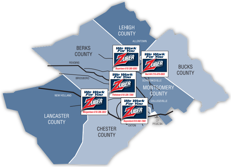 Area served by Zuber Realty
